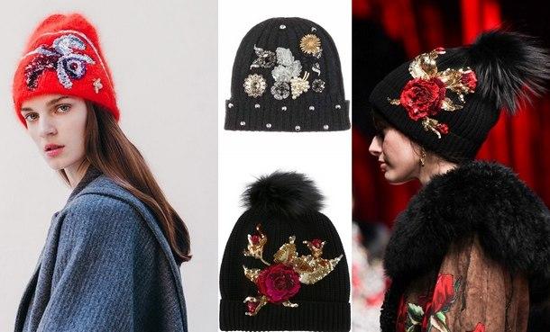 модные зимние вязаные шапки