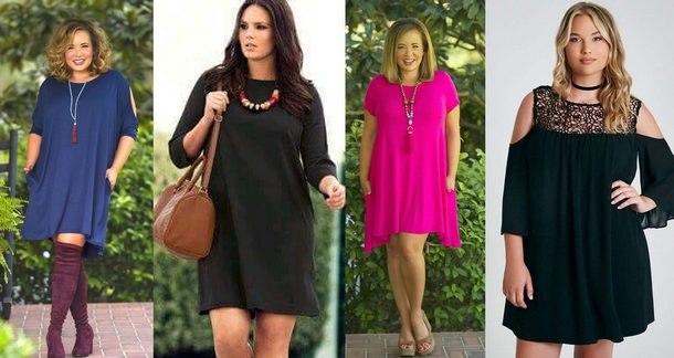 модели модных платьев для полных