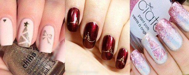 новые новогодние рисунки на ногтях