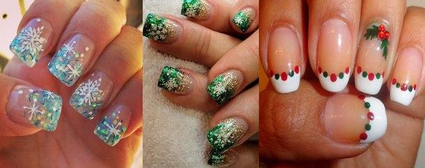новогодний дизайн ногтей с рисунком