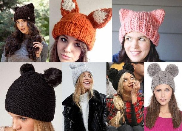 модные вязаные шапки женские