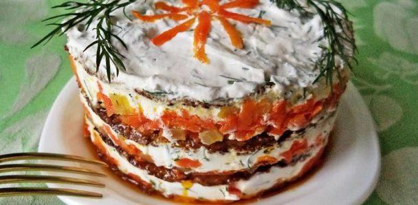 Торт-салат из говяжьей печени