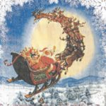 дед мороз на санях с оленями