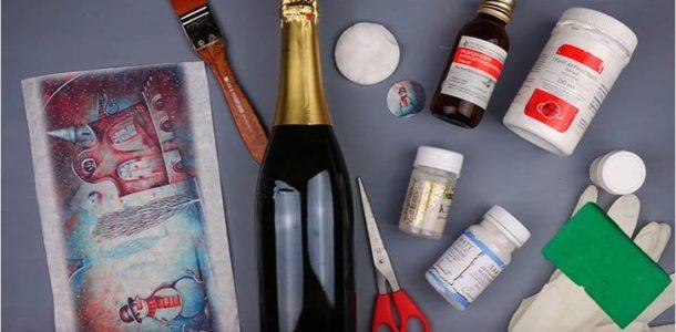 Декупаж бутылок шампанского 2019
