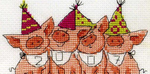 Схемы вышивки крестом Новый 2019 год Свиньи