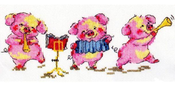 вышивка с тремя свинками