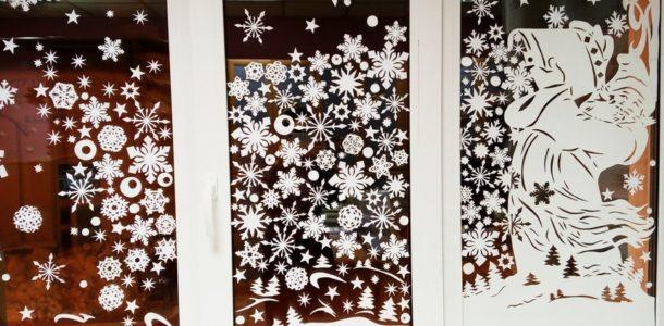 Украшение окна к Новому году 2019