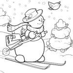 снеговик на лыжах раскраска