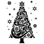 шаблон елочки со снежинками и узорами