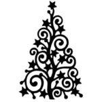 шаблон новогодней елочки с узорами