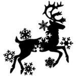 трафарет оленя со снежинками