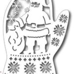 варежка с дедом морозом и узорами трафарет