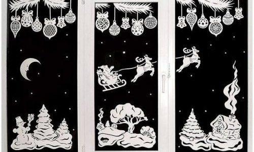 рисунок на окне в новогодней