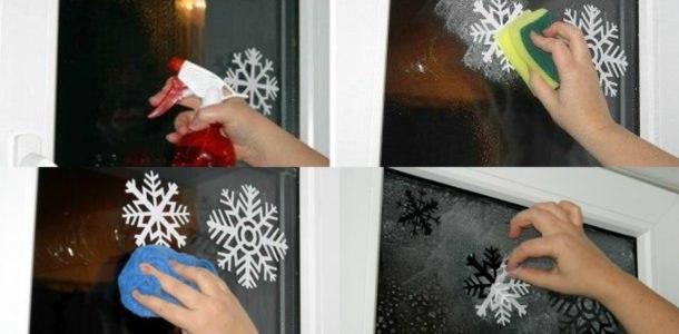 снежинки на окнах из бумаги