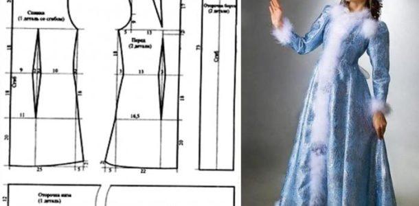 выкройка костюма Снегурочки взрослая